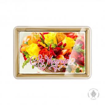 С праздником 8 марта Жёлтые розы в корзине 160 г