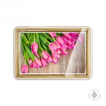 С праздником 8 марта Розовые тюльпаны 160 г