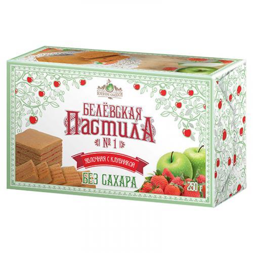 Белевская пастила яблочная с клубникой без сахара 250 г